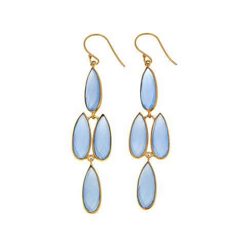 Argento Vivo Blue Chalcedony Chandelier Drop Earrings