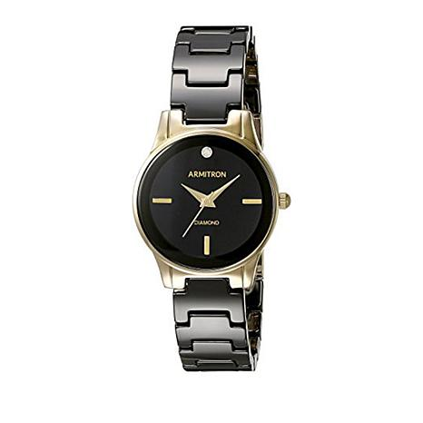 Armitron women 39 s black resin and goldtone strap watch 8638048 hsn for Black resin ladies watch