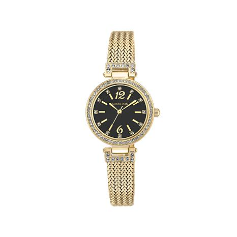 f215ce0ab11 armitron womens goldtone black dial bracelet watch with crystals from  swarovsk 83598.