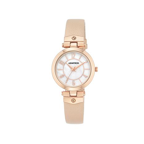 Armitron Women's Rosetone Blush Leather Strap Watch