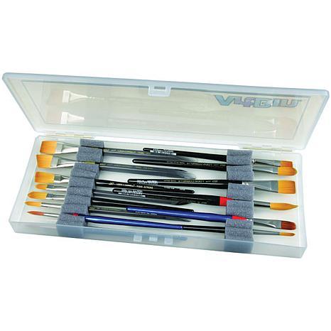 """ArtBin Brush Box - 14"""" x 6"""" X 1-1/4"""" Translucent"""