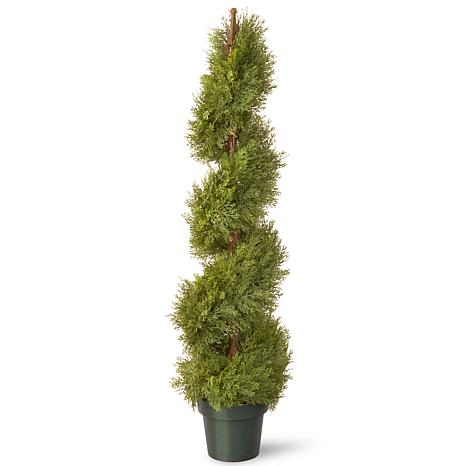"Artificial Topiary Tree 48"" Cedar Spiral in Growers Pot"