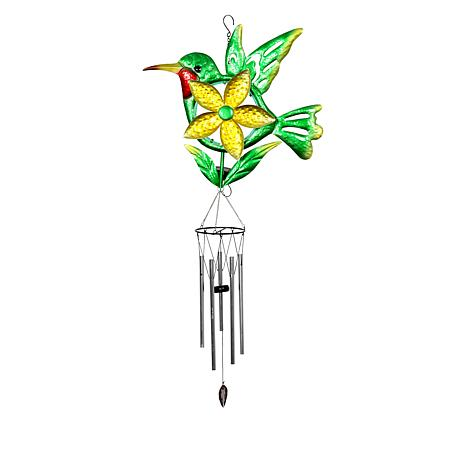 """As Is"" Exhart Solar LED Metal Bird Flower Spinner Wind Chime"