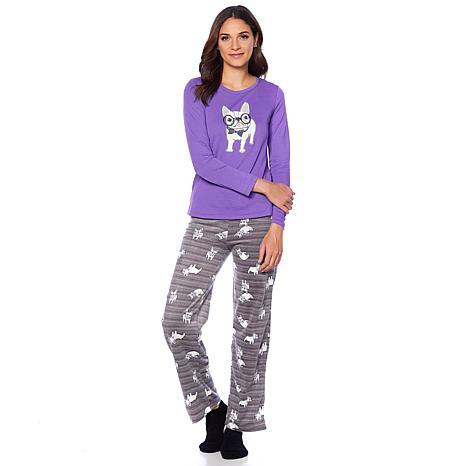 """As Is"" HUE 2pc Whimsical Print Pajama Set with Socks - Missy"
