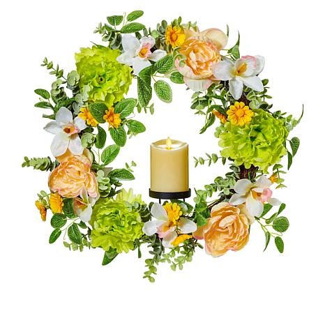 """As Is"" Luminara Spring Wreath with Moving Flame Candle"