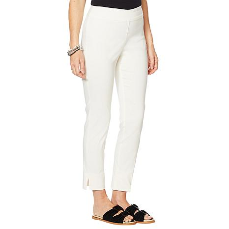 """As Is"" MarlaWynne Stretch Twill FLATTERfit Pant with Slit"