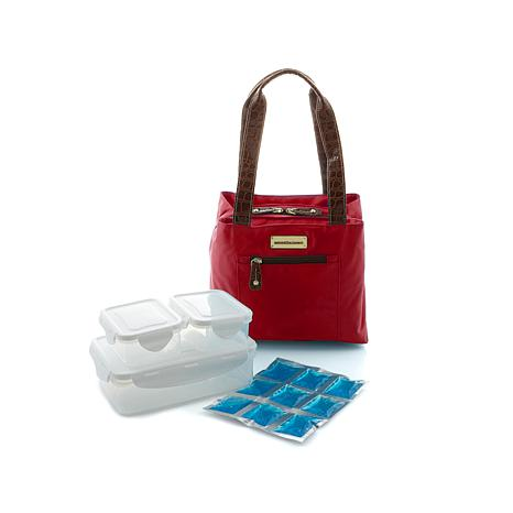 """""""As Is"""" Samantha Brown Basket Cooler Lunch Tote w/Containers"""