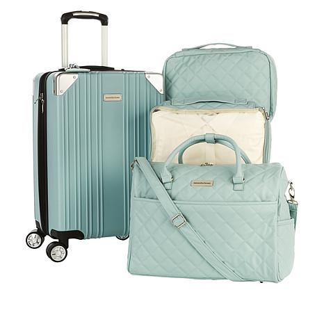 """""""As Is"""" Samantha Brown Hardside Case, Quilted Satchel and Cubes 4-p..."""