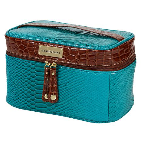 """As Is"" Samantha Brown Ombré Croco Embossed Cosmetic Case"