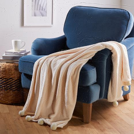 """""""As Is"""" Soft & Cozy Woven Throw with Pom Poms"""