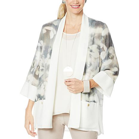 """As Is"" WynneLayers Drape Front Printed Chiffon Jacket"