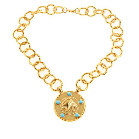 "Asa Jewelry Blue Stone Goldtone 30"" Lion Drop Necklace"