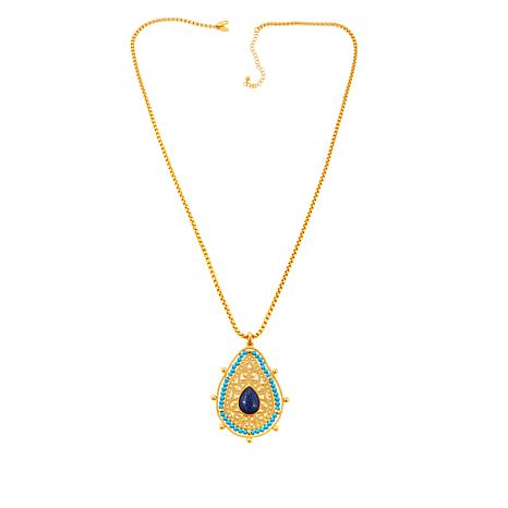 Asa Jewelry Blue Stone Pear Enhancer Pendant
