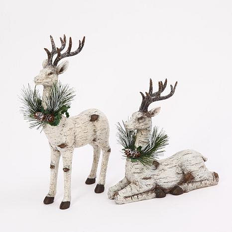 Assorted Set of 2 Poly-Resin Reindeer Table-Top Figurines