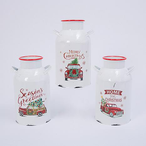Assorted Set of 3 Metal Holiday Milk Cans with Vintage Truck Motif