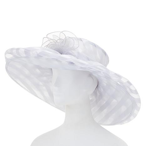 ad96ed614d7 August Hat Company Fine Millinery Striped Organza Wide-Brim Hat ...