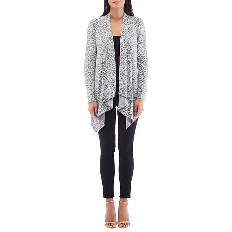 B Collection by Bobeau Leopard-Print Brushed Knit Draped Cardigan