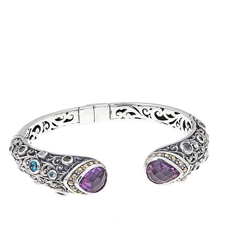 Bali Designs 10.14ctw Amethyst & Gem 2-Tone Bangle