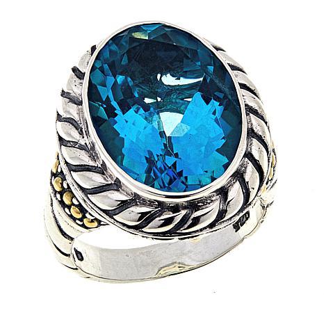 Bali Designs 10.3ct Paraiba-Color-Coated Quartz Cable Ring