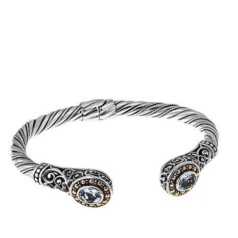 Bali Designs 1.08ctw Aquamarine Scroll Cable Cuff