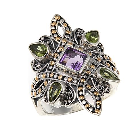 Bali Designs 1.59ctw Peridot and Amethyst 2-Tone Ring