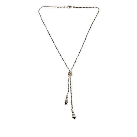 """Bali Designs 3.4ctw Black Spinel 22"""" Y-Necklace"""