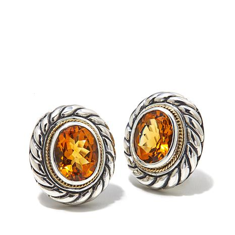 Bali Designs 3.94ctw Madeira Citrine 2-Tone Earrings