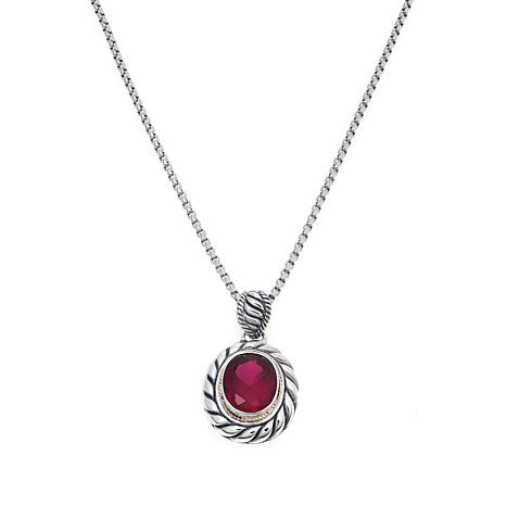 Bali Designs 4.5ct Oval Created Ruby Pendant