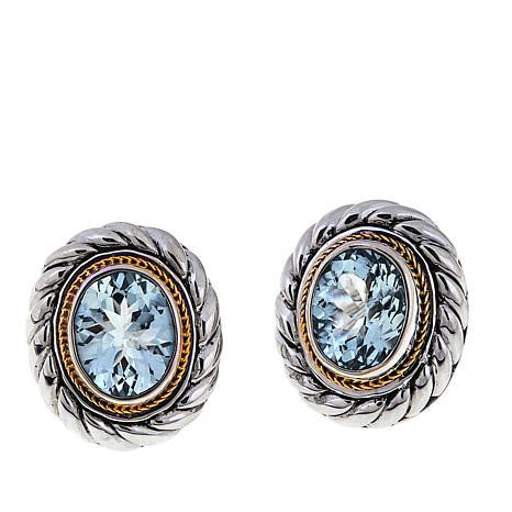 Bali Designs 4ctw Aquamarine 2-Tone Stud Earrings