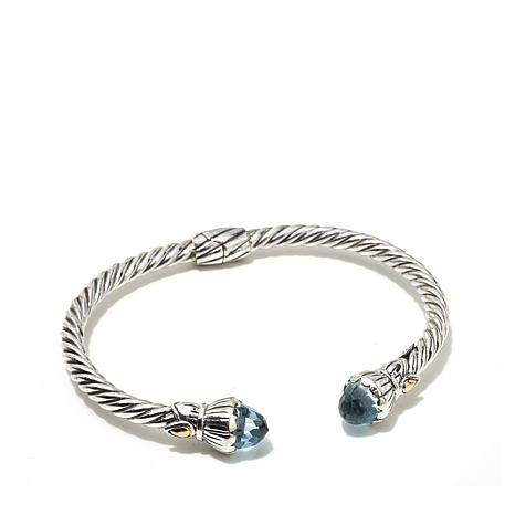 Bali Designs 7.4ctw Blue Topaz 2-Tone Cable Cuff Bracelet