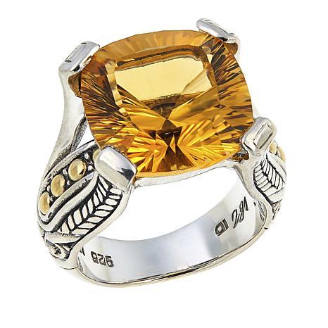 Bali Designs  7.6ct Laser-Cut Cushion Citrine Ring