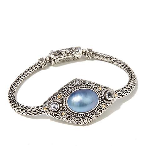Bali Designs Blue Mabé Pearl and Gem 2-Tone Bracelet