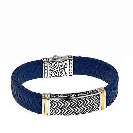 "Bali Designs ""BroManse"" Scrollwork & Blue Leather Bracelet"
