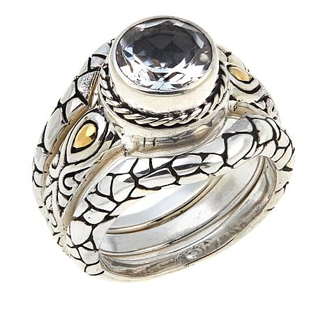 Bali Designs by Robert Manse 1.78ctw White Topaz 3-piece Ring Set