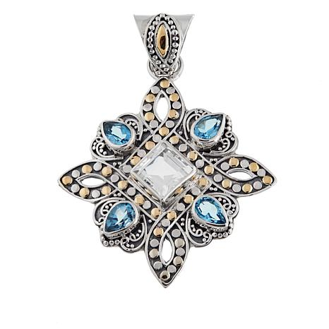 Bali Designs by Robert Manse 3.66ctw Swiss Blue & White Topaz Pendant