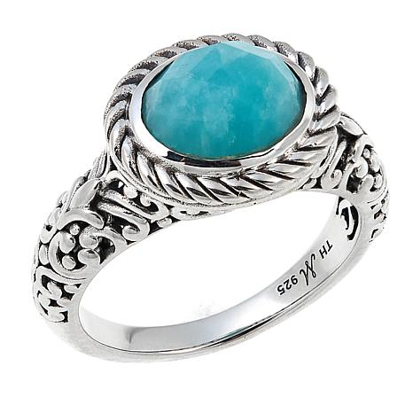 Bali Designs by Robert Manse Oval Amazonite Scrollwork Cable Ring