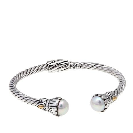 Bali Designs By Robert Manse Cultured Freshwater Pearl 2 Tone Cable Cuff Bracelet