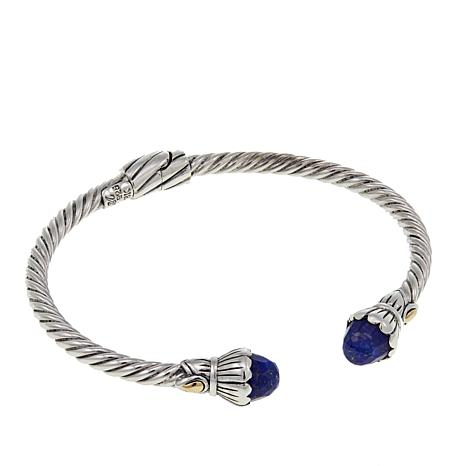 24878d24073 Bali Designs Faceted Lapis Cable Cuff Bracelet - 8762462 | HSN