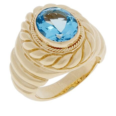 Bali Designs Gold-Plated Swiss Blue Topaz Cable Ring