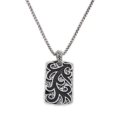 Bali designs by robert manse bromanse mens sterling silver double bali designs by robert manse bromanse mens sterling silver double pebbled pattern pendant with 22 chain aloadofball Choice Image