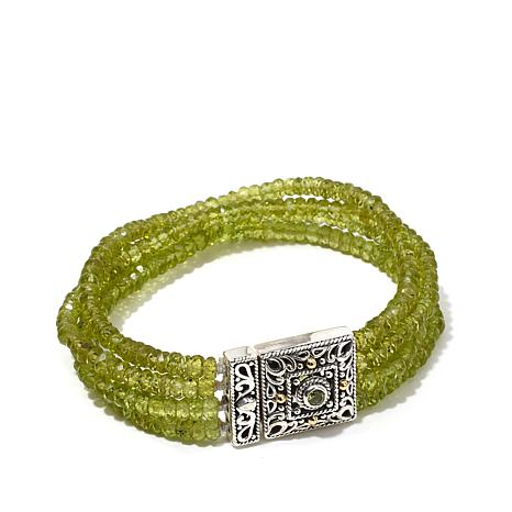 Bali Designs Peridot Bracelet with Ornate 2-Tone Clasp