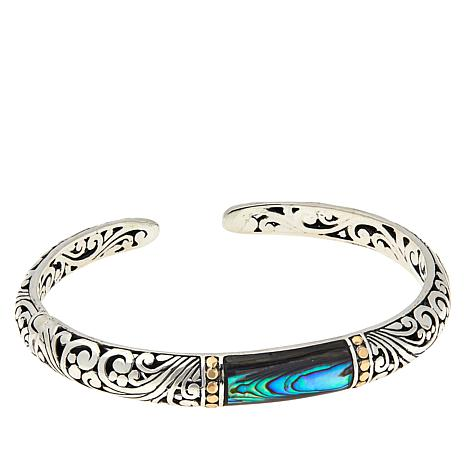 Bali Designs Sterling Silver Abalone Scrollwork Hinged Cuff Bracelet