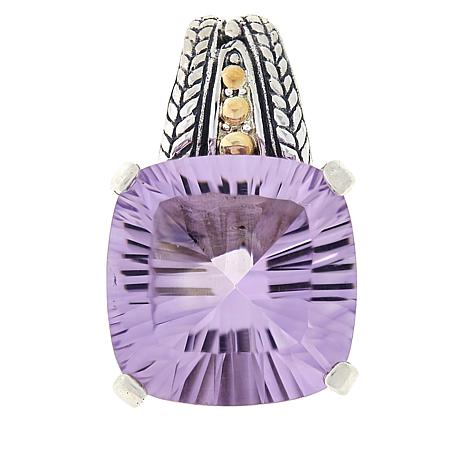 Bali Designs Sterling Silver and 18K Gold Pink Amethyst Pendant
