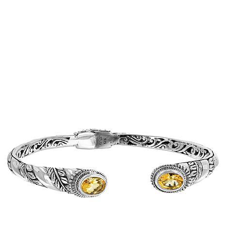 Bali Designs Sterling Silver Gemstone Leaf Design Cuff