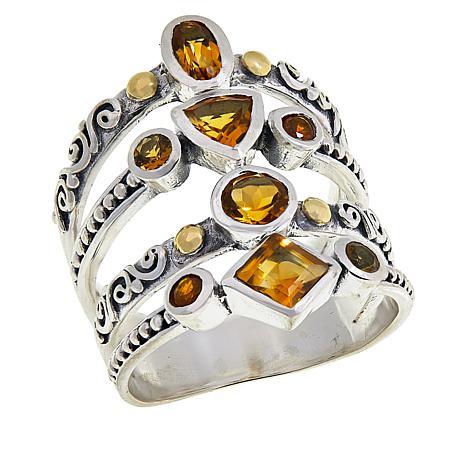 Bali Designs Sterling Silver Two-Tone Multi-Band Multi-Gemstone Ring