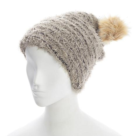 BEARPAW® 2 in 1 Feathered Yarn Knit Scarf Hat
