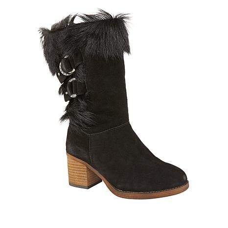 BEARPAW® Madeline Suede Block-Heel Boot with NeverWet™