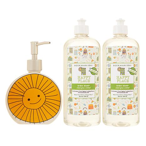 exclusive! Beekman 1802 Happy Place 20 oz  Dish Soap 2pk with Ceramic  Dispenser