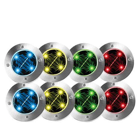 Bell +  Howell 8-pack Multicolor Solar Disk Lights