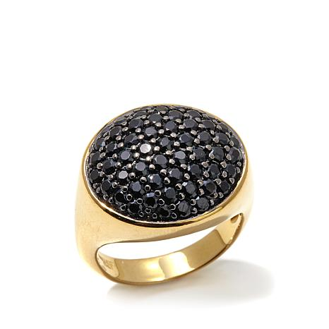 Bellezza 1.87ctw Black Spinel Bronze Pavé Dome Ring